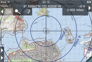 concentric distance rings are shown and as you move around the map the distance and bearing from the selected point to the crosshairs is updated