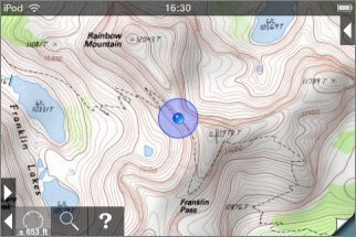 if this is on a currently installed topo map it will be shown otherwise the position will be shown on the index map
